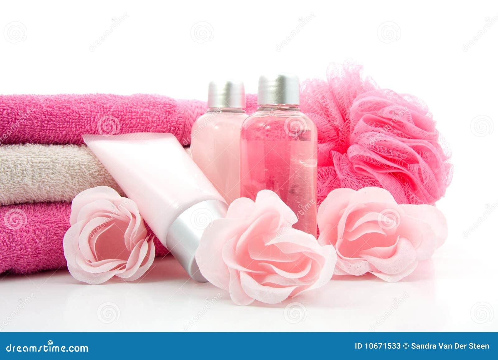 Accessoire rose de salle de bains et de station thermale for Accessoires salle de bain or rose
