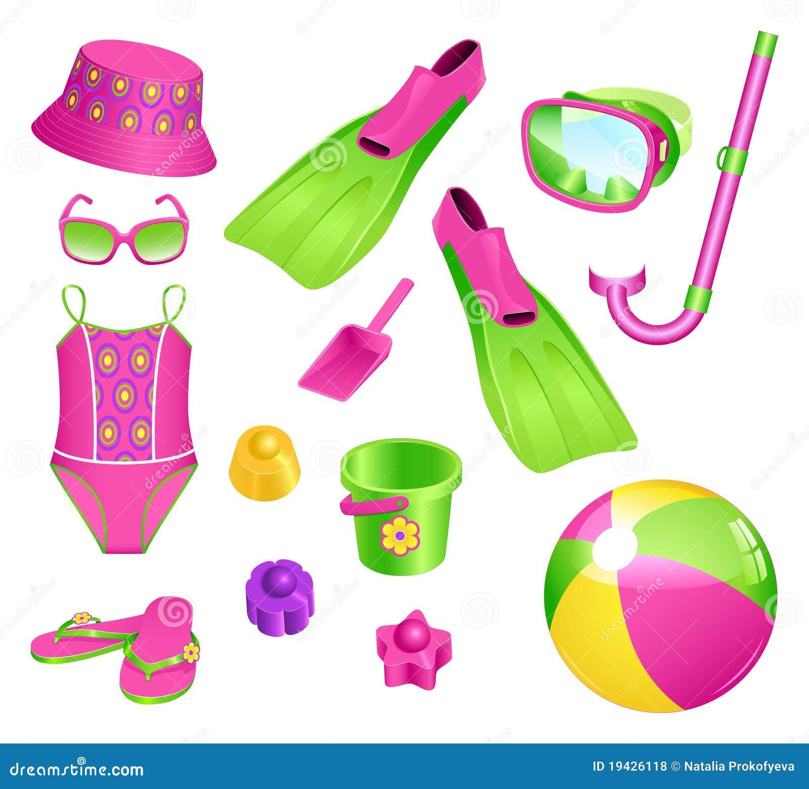 accessoires de plage pour la fille illustration de vecteur illustration du accessoires enfant. Black Bedroom Furniture Sets. Home Design Ideas
