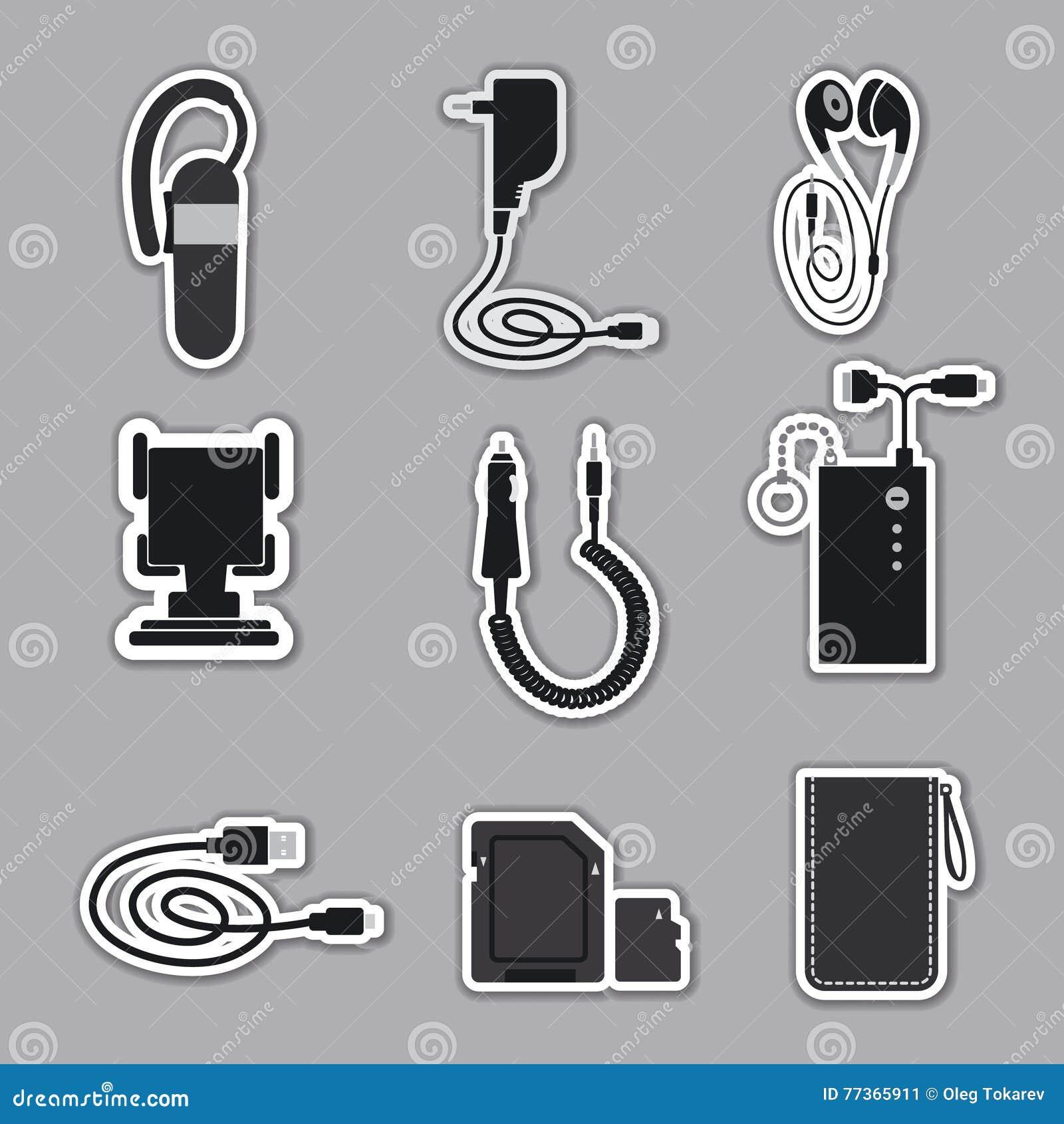 modèle unique en ligne à la vente couleurs et frappant Accessori Del Telefono Cellulare Illustrazione di Stock ...
