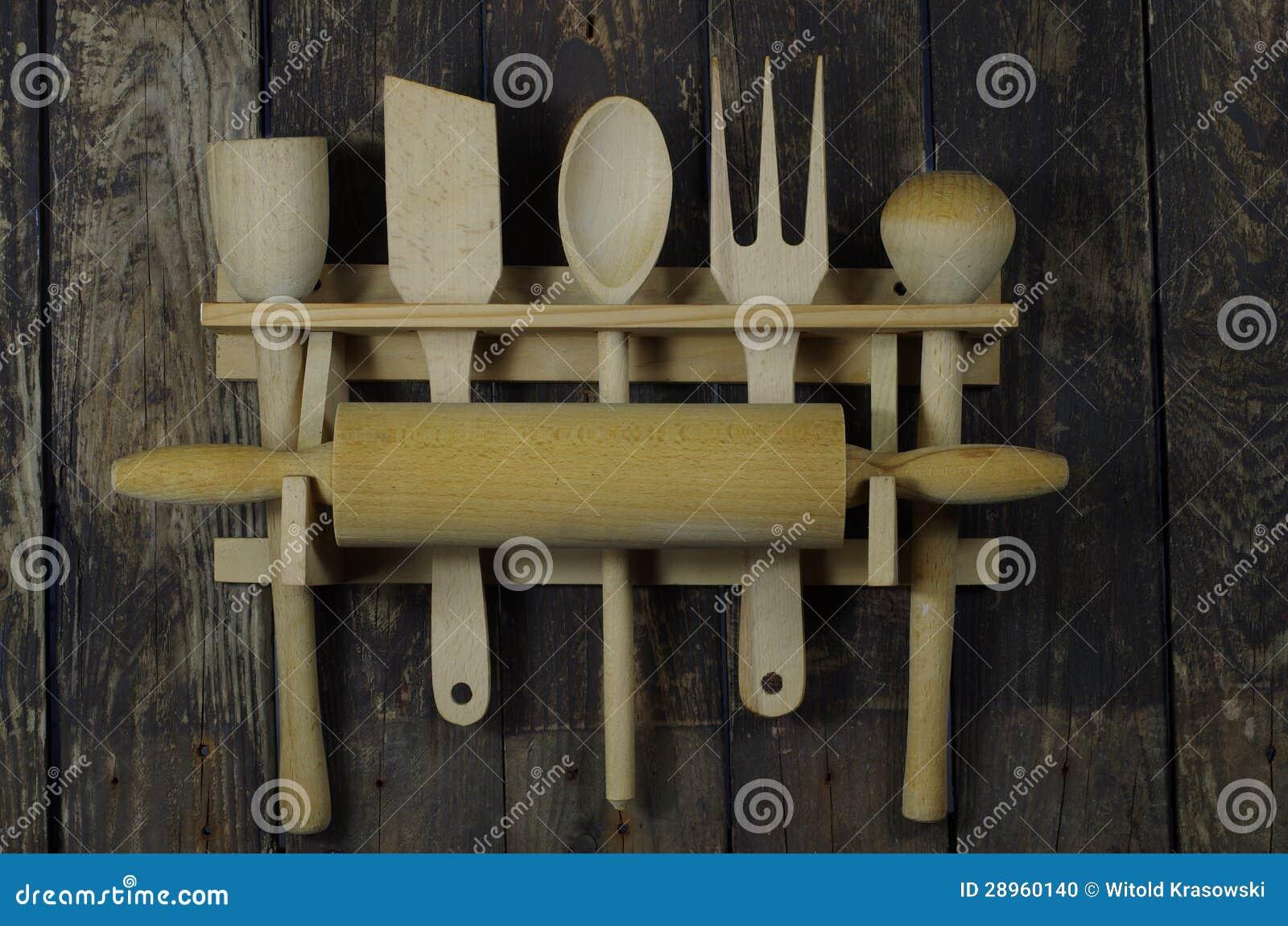 Accessori di legno della cucina fotografia stock for Accessori di cucina