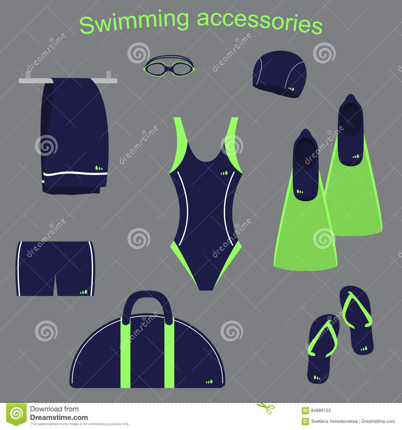 Accessories And Clothing For Swimming Pools Stock Photo Image 84889153
