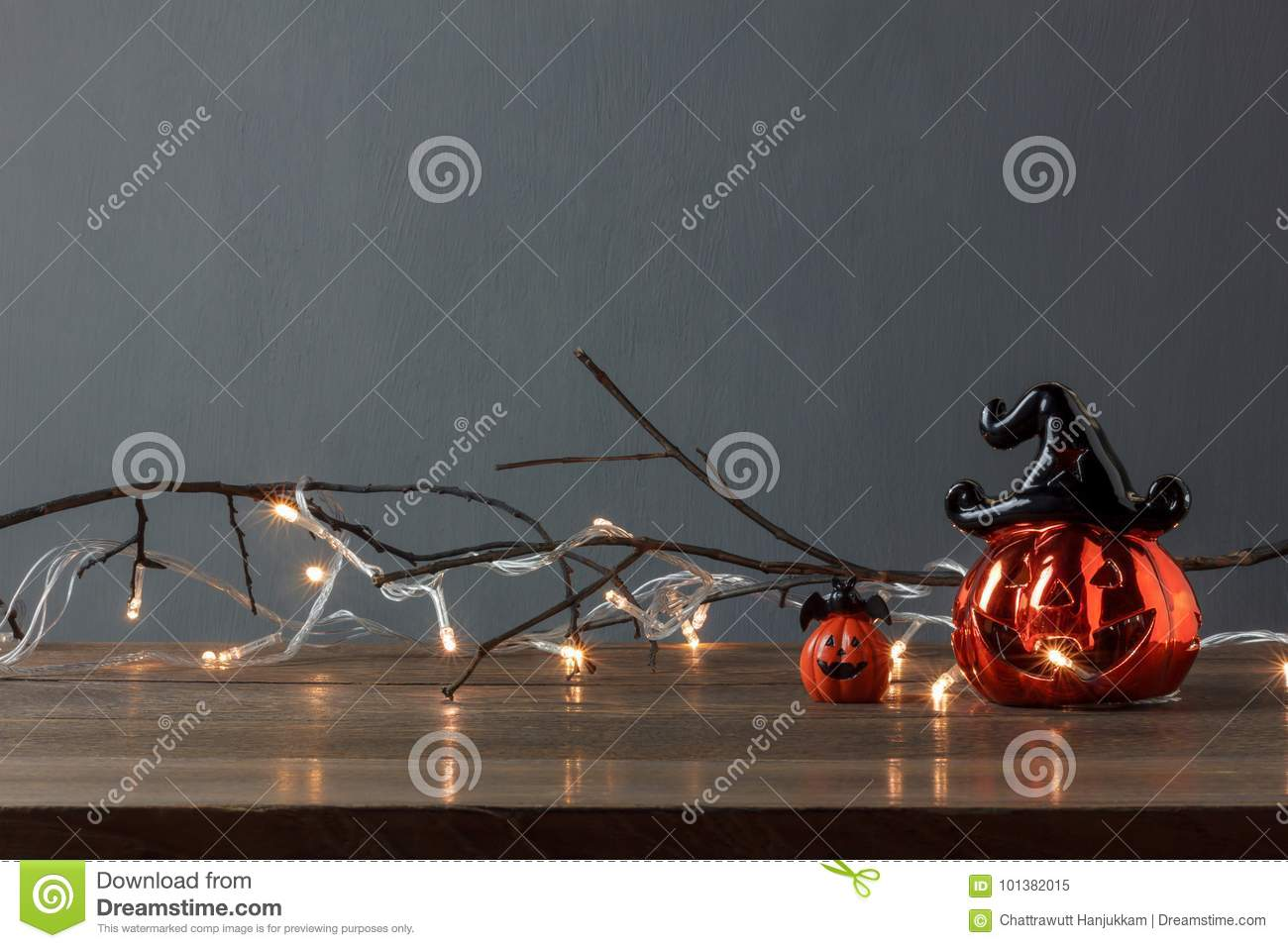 Accessories of decorations Happy Halloween festival background concept.