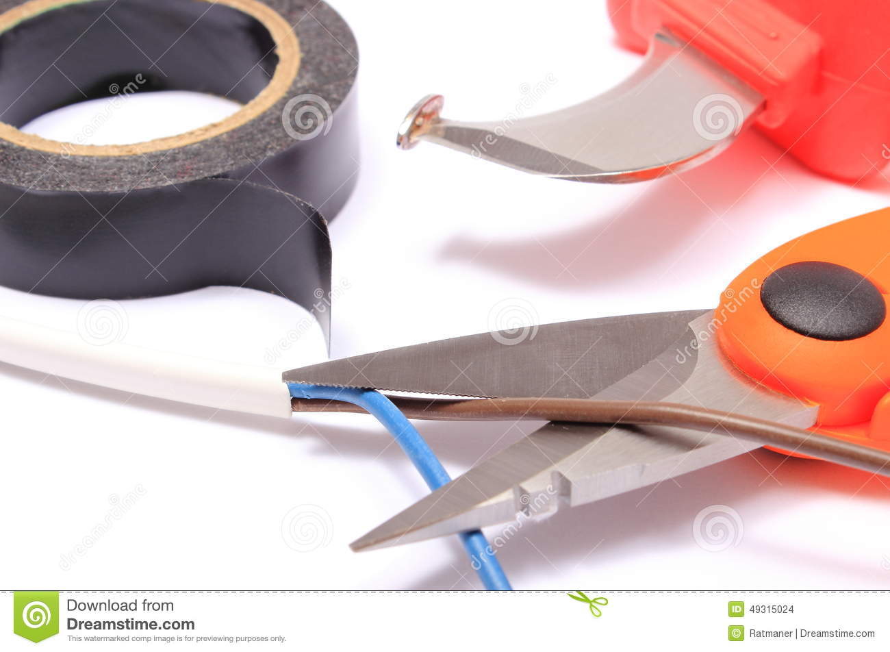 Accessories For Engineer Jobs On White Background Stock Photo Wiring Duct Cutter Download Comp