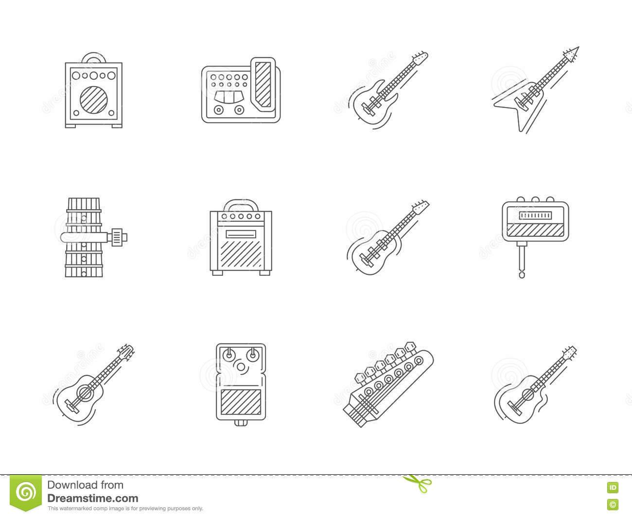 Accessories For Guitar Flat Line Icons Stock Image Of Parts The Electric And Acoustic Hardware Musical Equipment Studio Style Collection