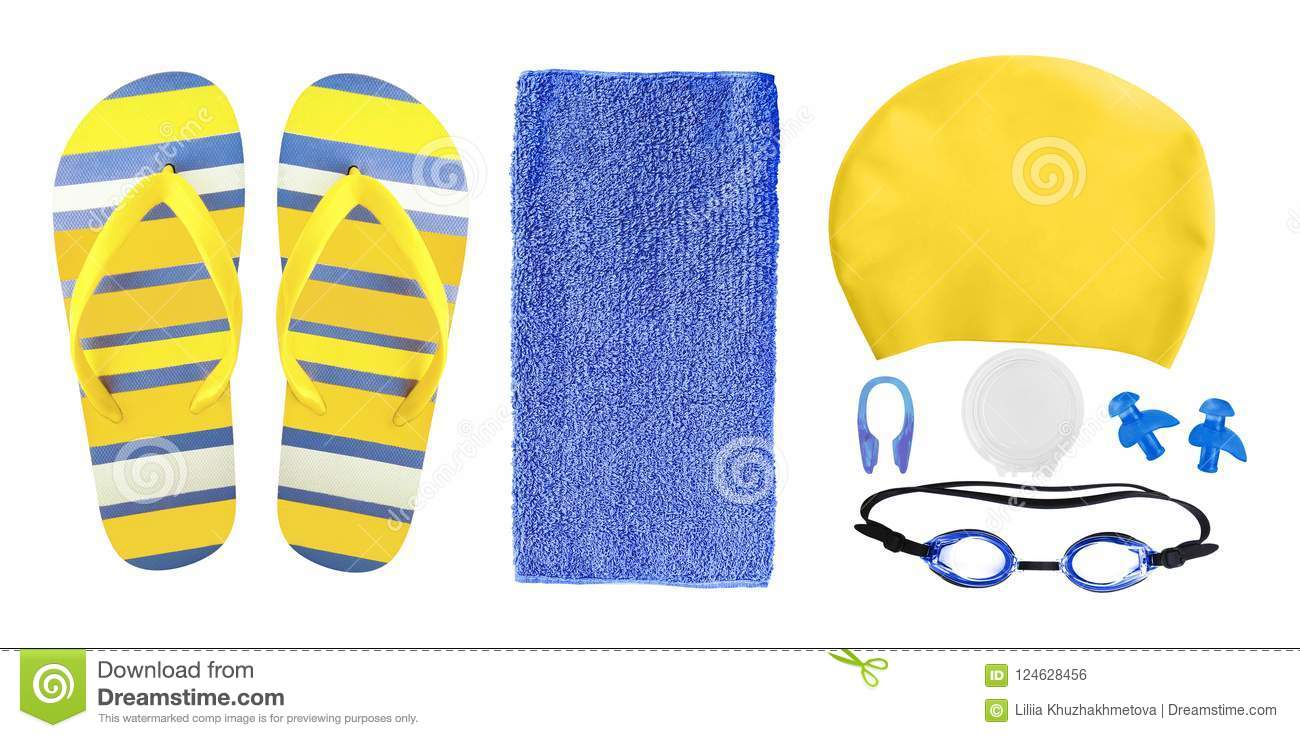Accessories for swimming pool isolated on white