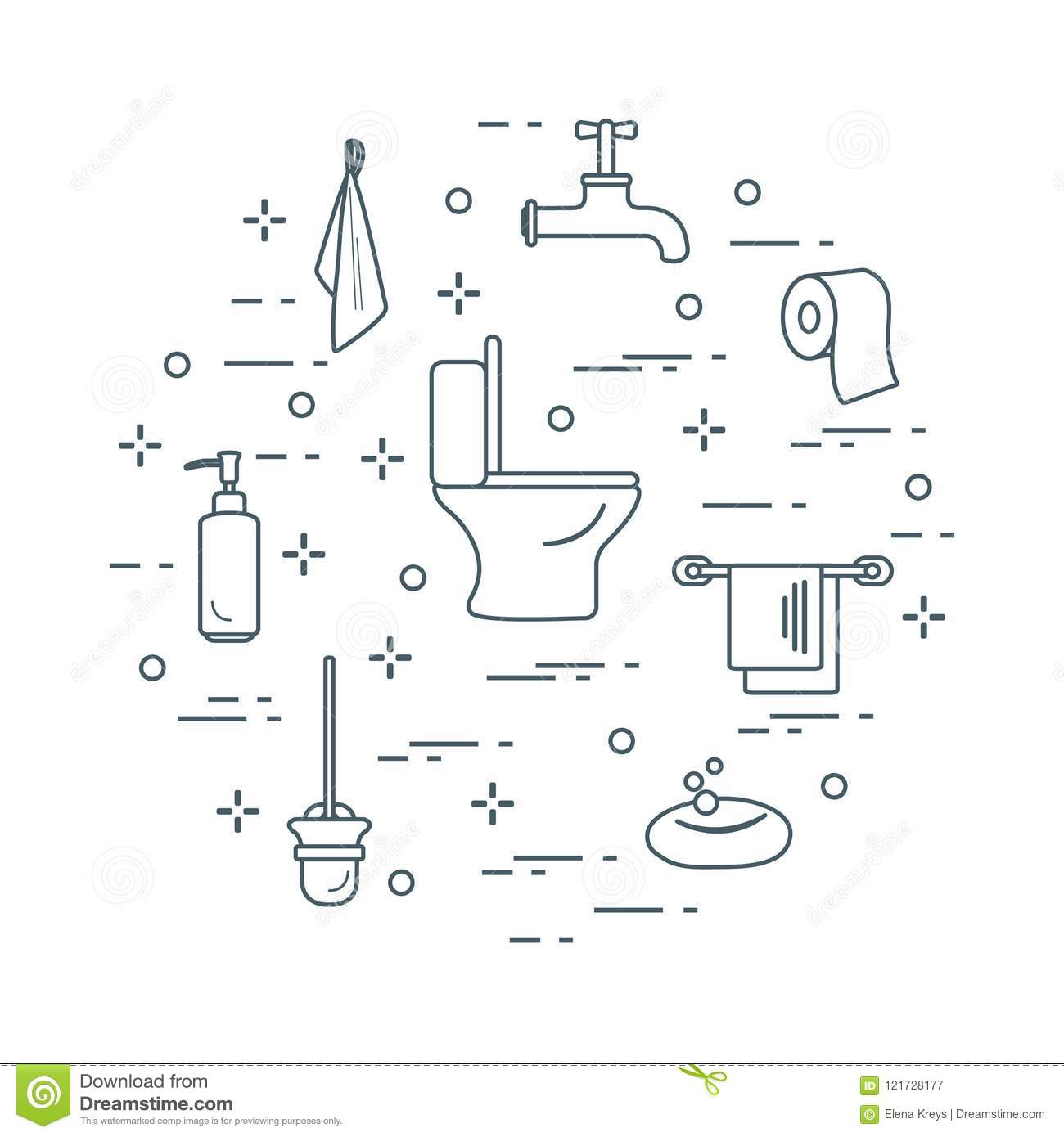 Accessories For Toilet Rooms And Bathroom. Stock Vector ...