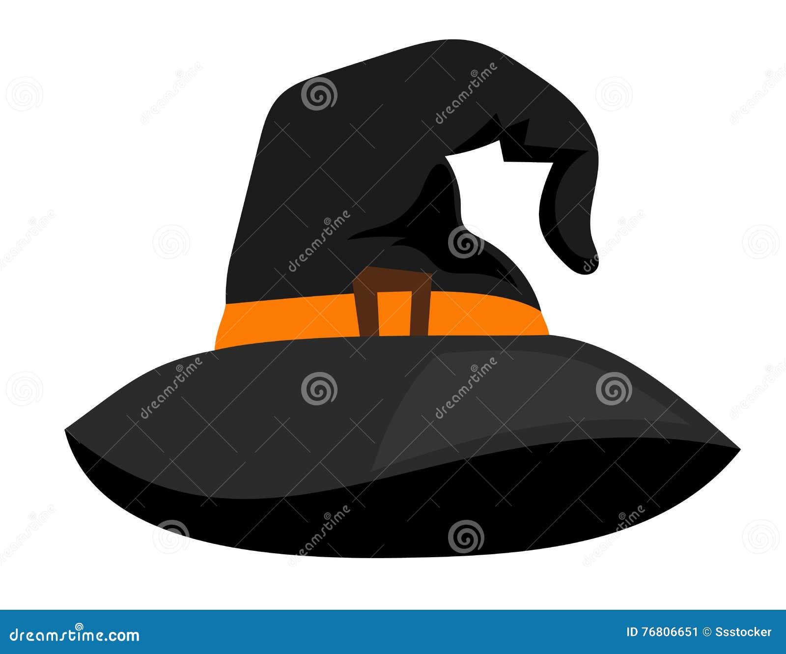 Accessorio scuro del fumetto dello stregone di Halloween del cappuccio del  cappello della strega o della strega di vettore su fondo bianco 16d16b3b4244