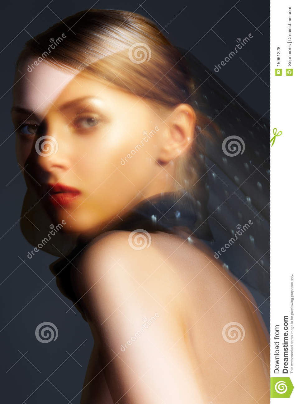 Accessory Chic Woman Model With Black Silk Scarf Stock
