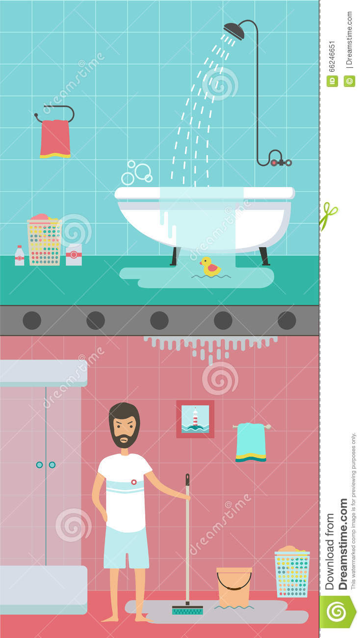 An Accident In The Bathroom Stock Vector - Illustration of accident ...