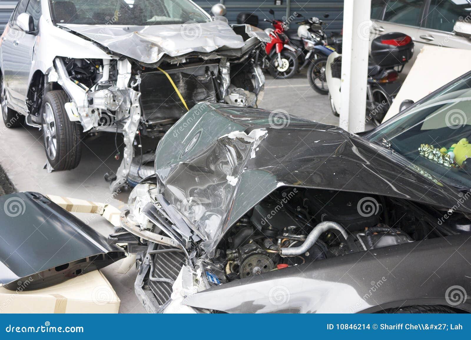 Accident Damaged Motorcars stock photo  Image of motorcar