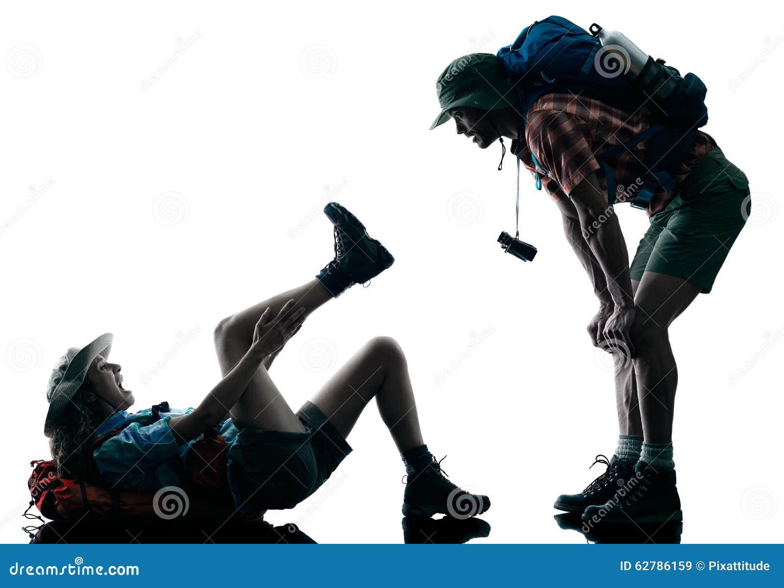 Accident de blessure de trekking de trekker de couples