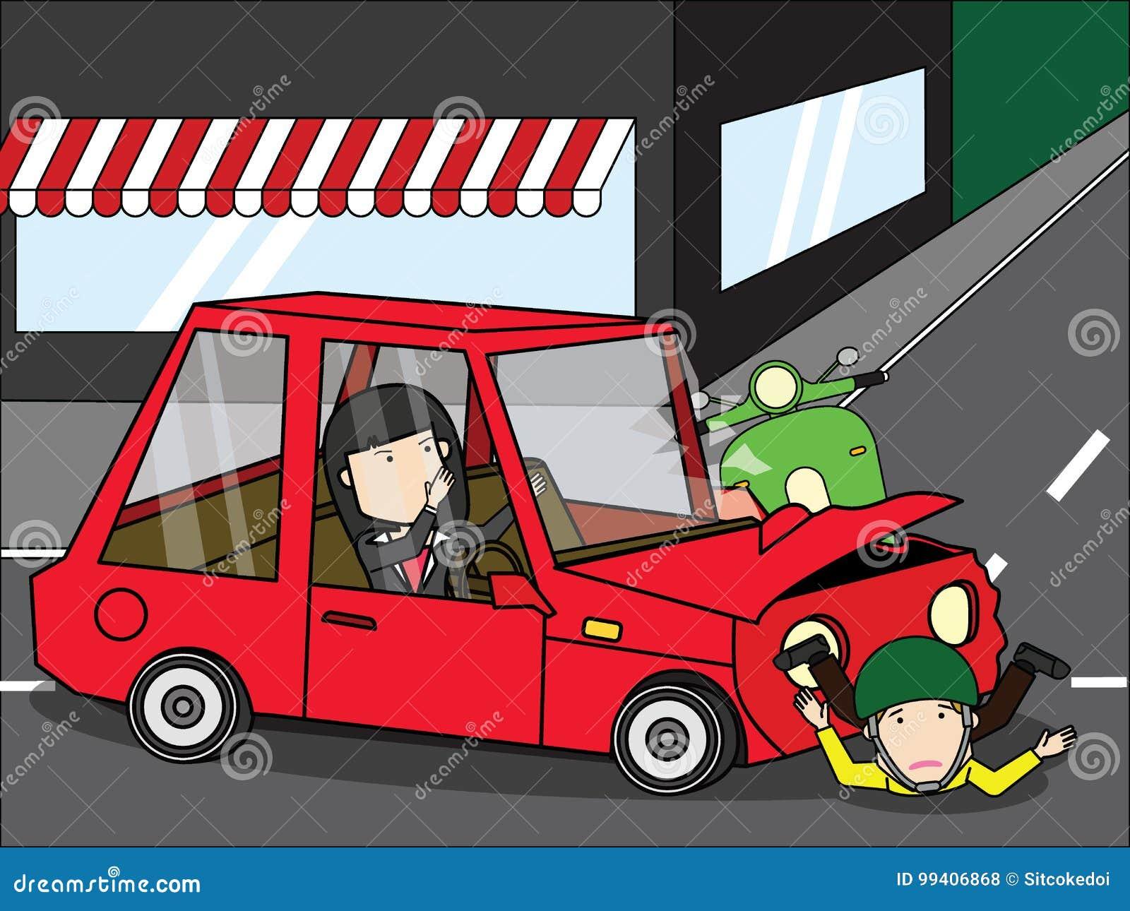 accident de voiture de jeune femme avec le scooter illustration de vecteur illustration du. Black Bedroom Furniture Sets. Home Design Ideas