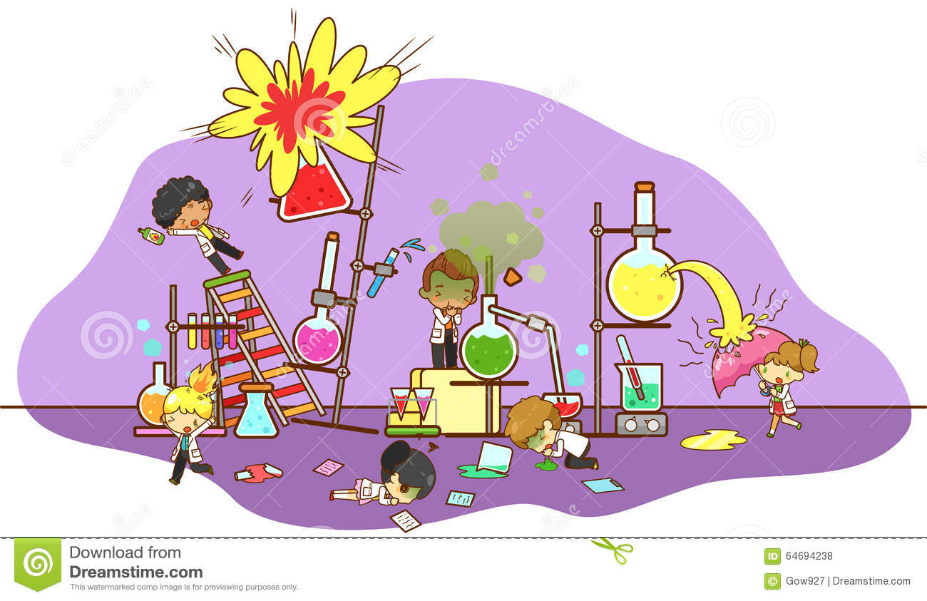 Accident and destruction while kid scientists working