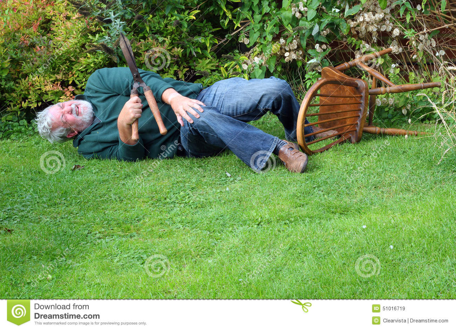 Accident, Garden Fallen Over. Danger. Stock Photo - Image ...