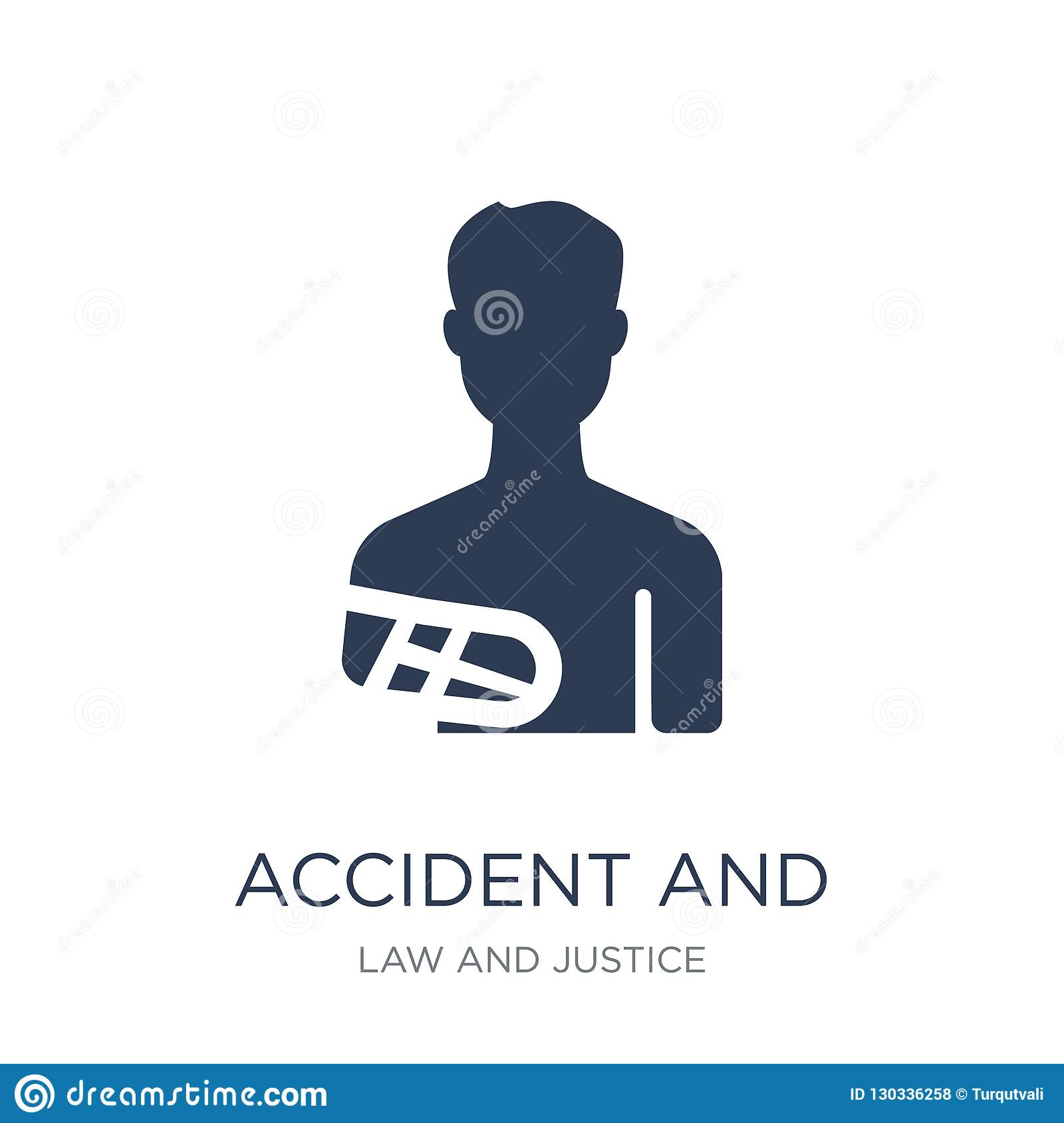 accident and injuries icon. Trendy flat vector accident and injuries icon on white background from law and justice collection