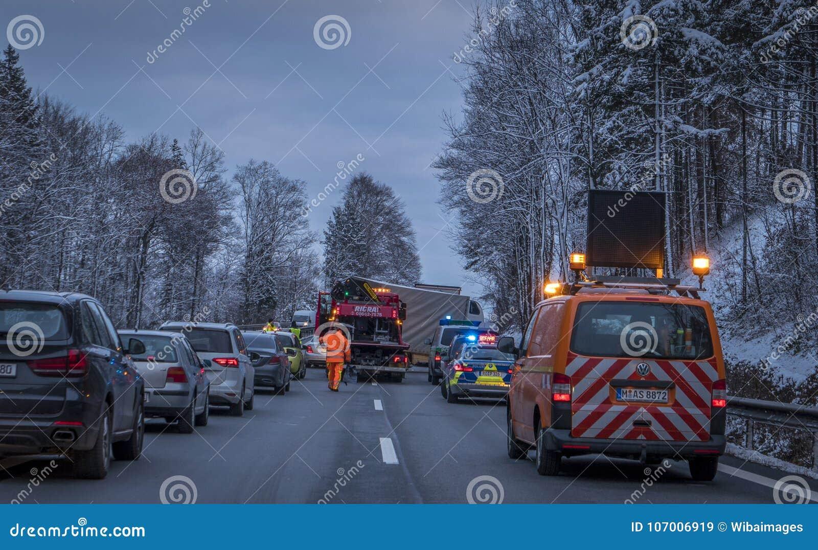 Accident On The A8 Motorway Munich-Salzburg Editorial Stock