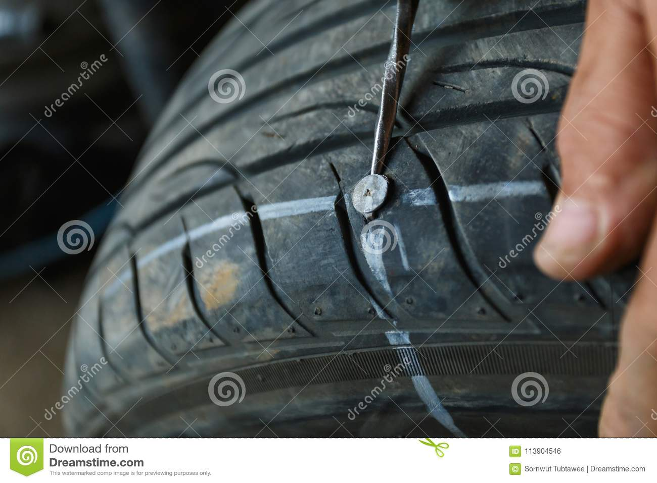 Accident with punctured tires concept.