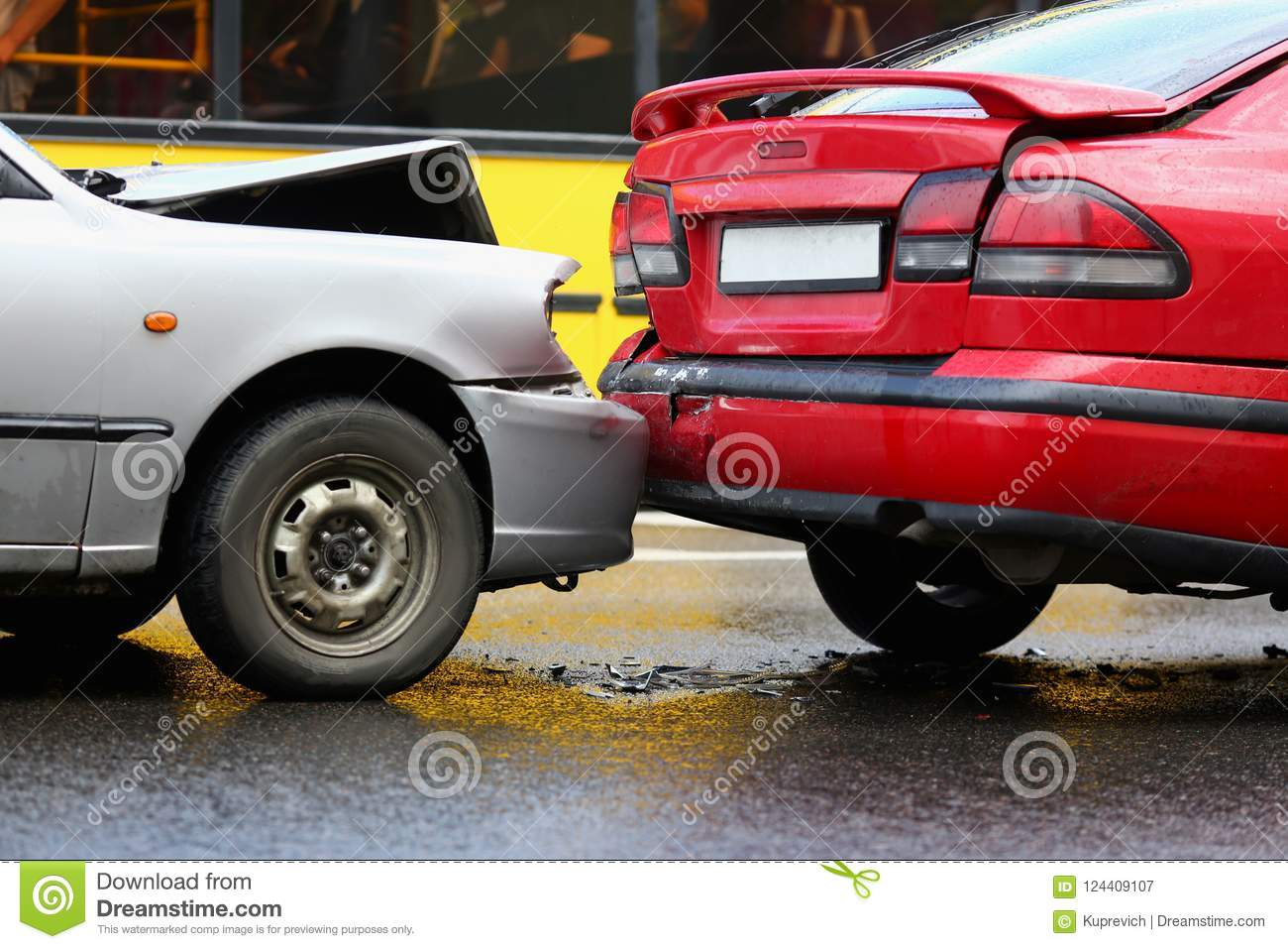 Accident of red and silver car after
