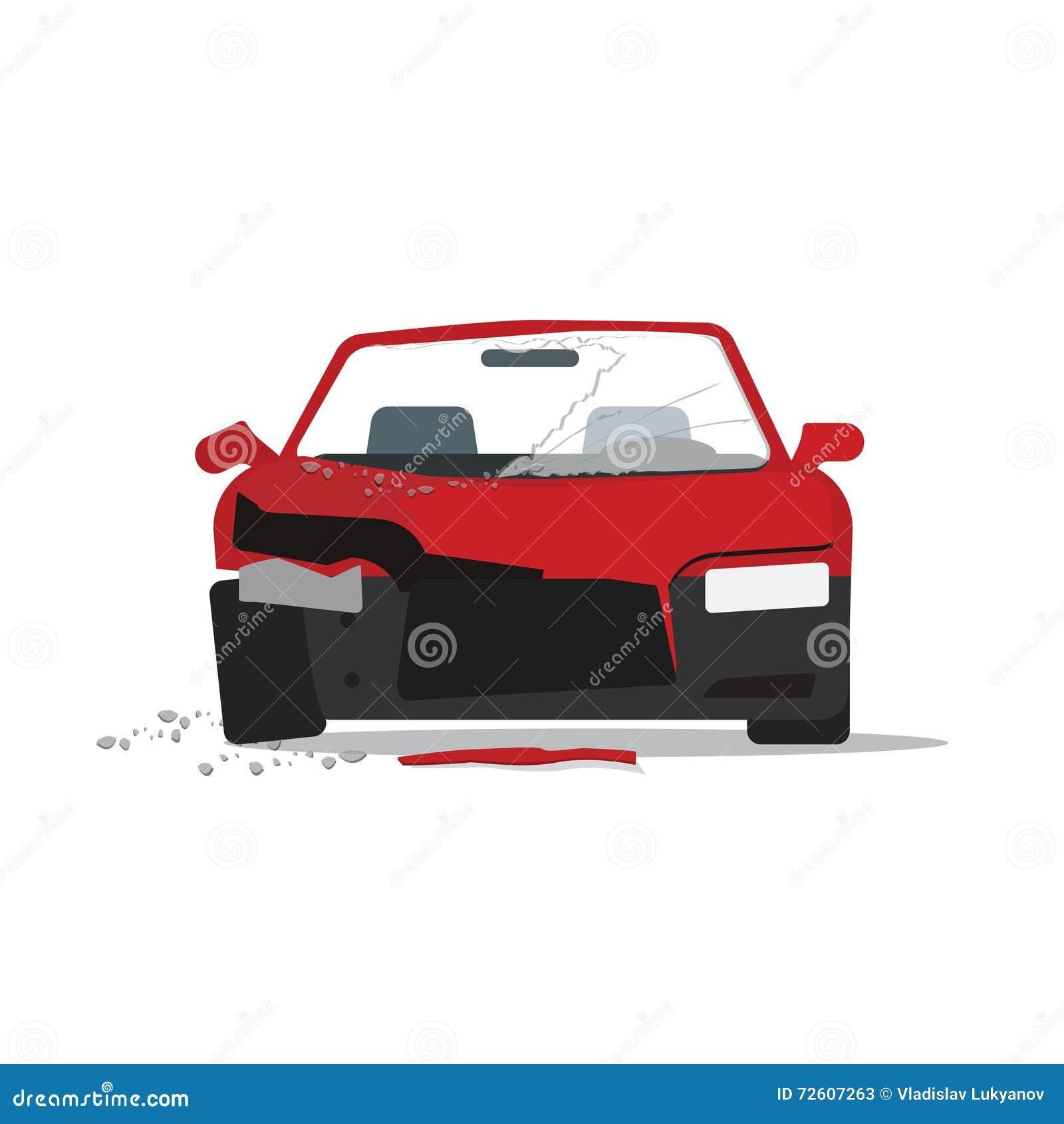 Accidente Auto Estrellado Del Coche Aislado En El Fondo Blanco ...