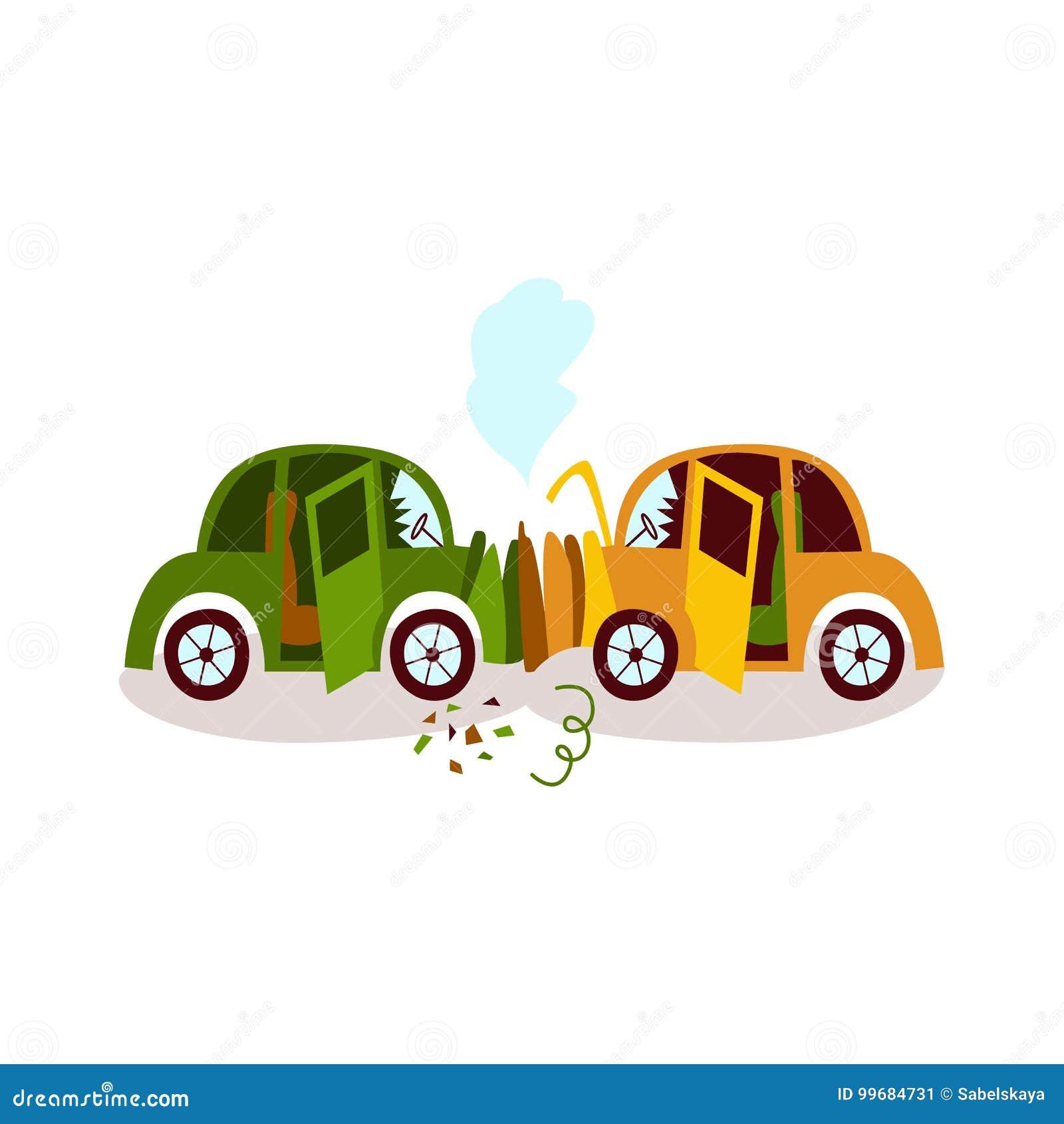 Accidente de tráfico, cabeza en la colisión, doblador de defensa