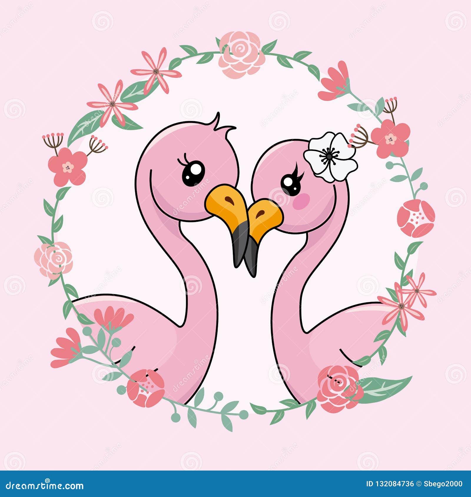 Accoppi dei fenicotteri nell amore dentro la struttura del fiore
