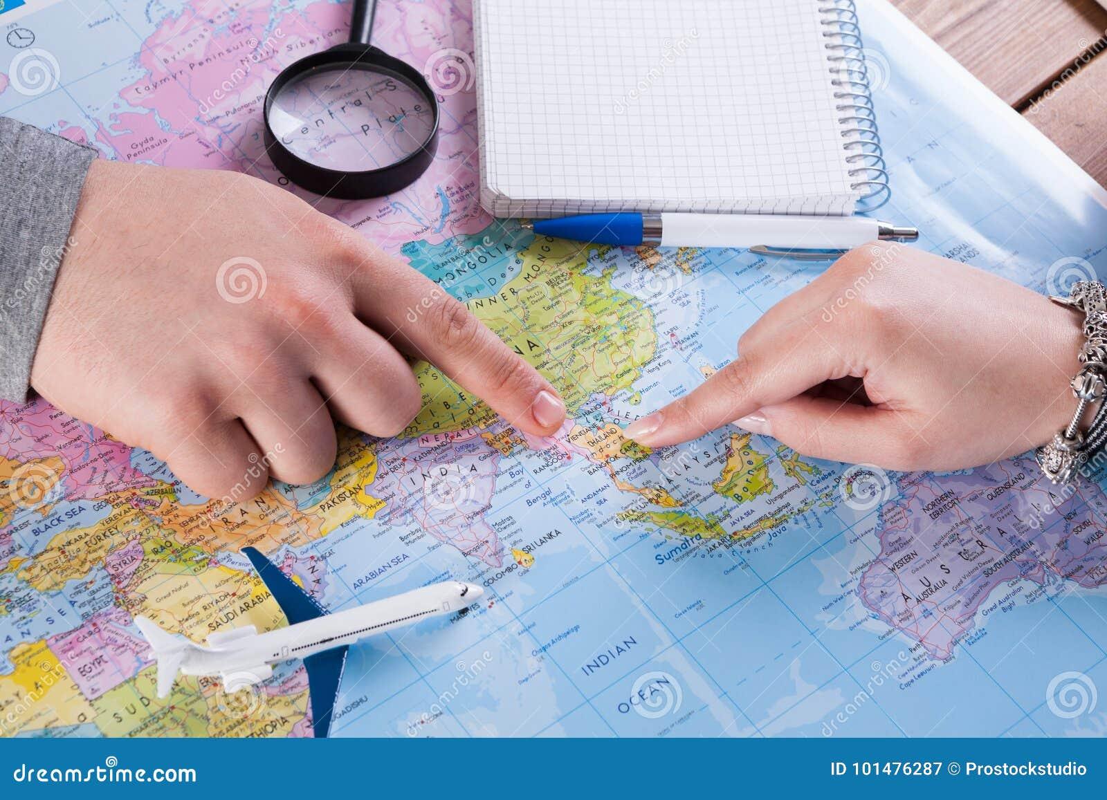 Accoppi il viaggio di pianificazione in Tailandia, punto sulla mappa