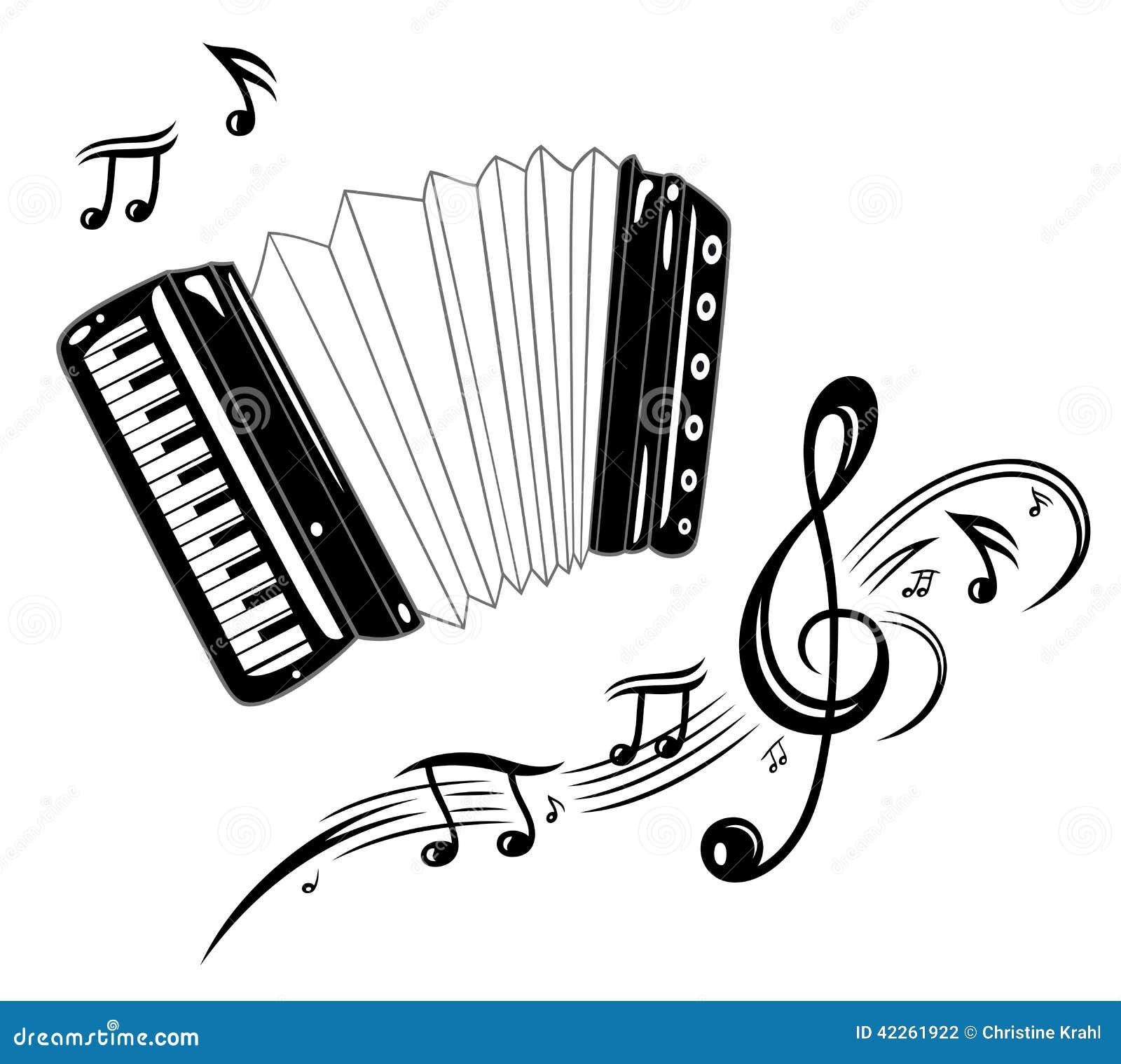 Dessin Accordéon accordéon, musique illustration de vecteur. illustration du retrait