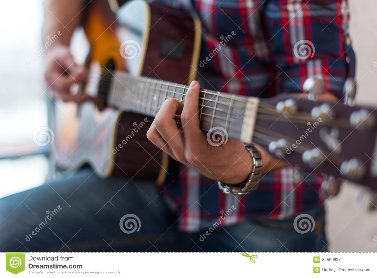 Accord Chord Close Up Of Mens Hands Playing An Acoustic Guitar