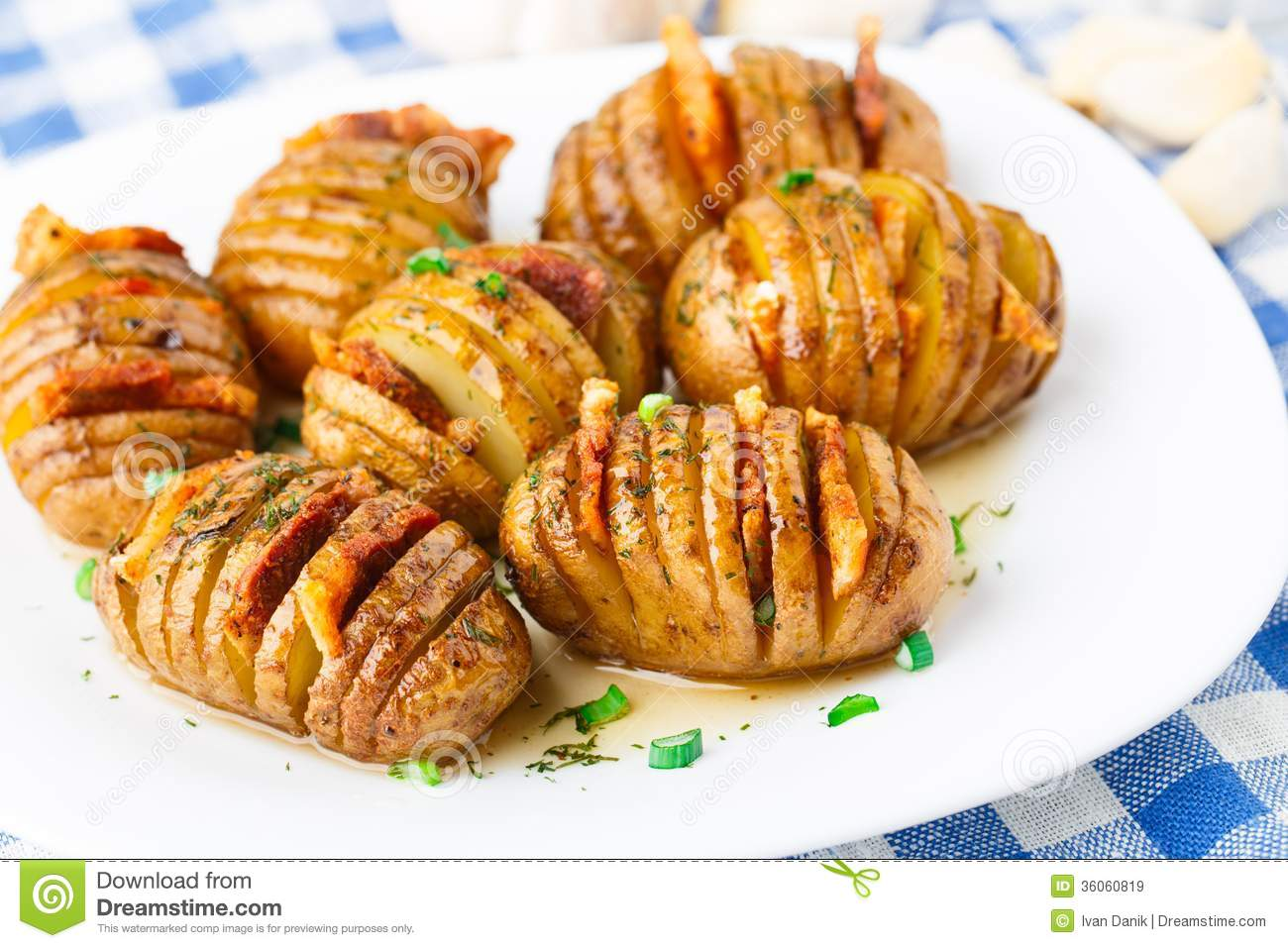 Accordion Baked Potatoes With Bacon Royalty Free Stock Images - Image ...