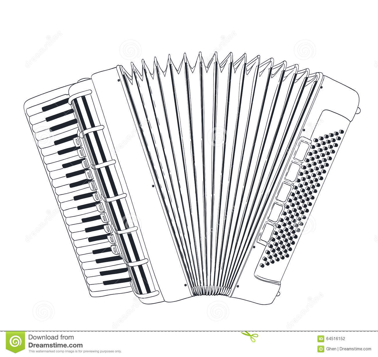 Accordion Drawing Stock Vector - Image: 64516152