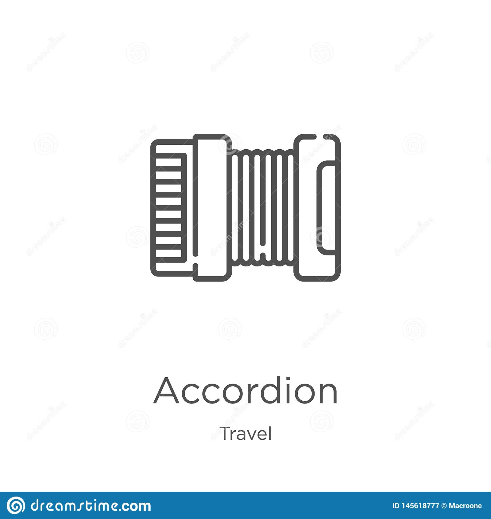 accordion icon vector from travel collection. Thin line accordion outline icon vector illustration. Outline, thin line accordion