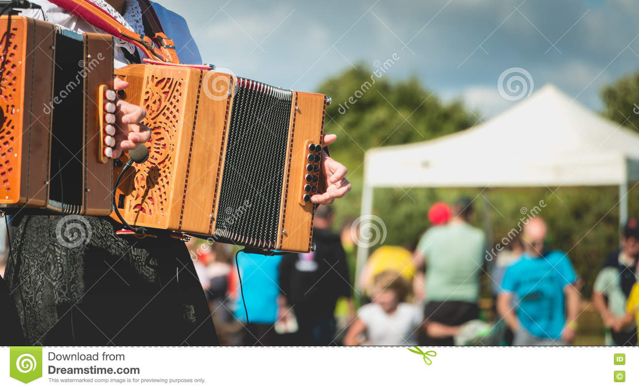 Accordion player on stage
