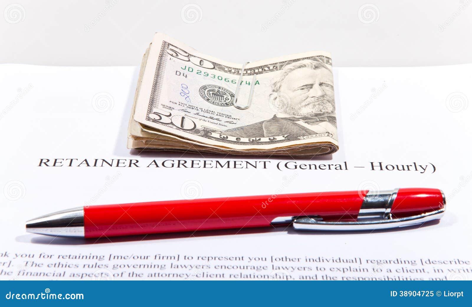 Accordo del fermo con i dollari e la penna