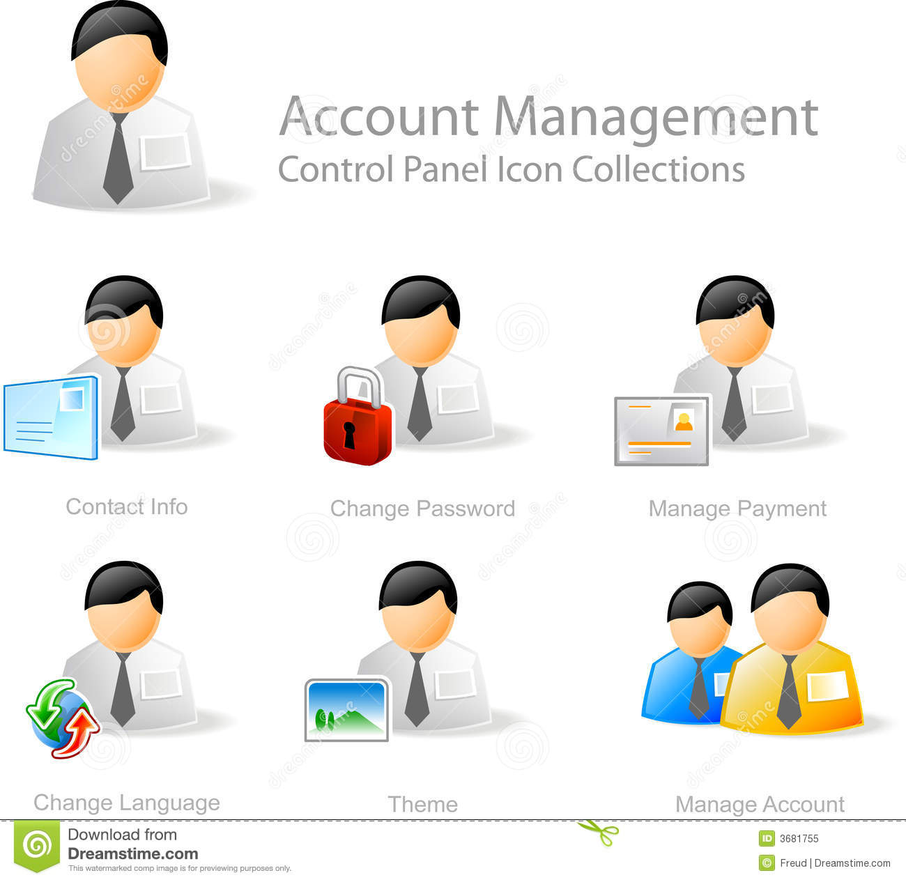Account Management Icons Stock Vector Image Of Design