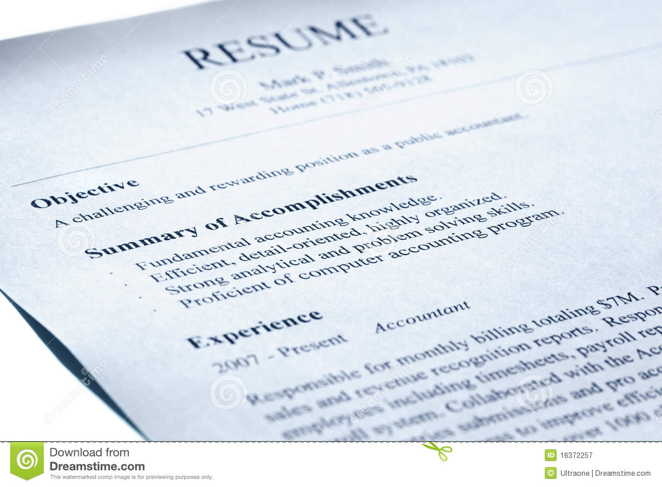 account manager resume  blue tint  royalty free stock