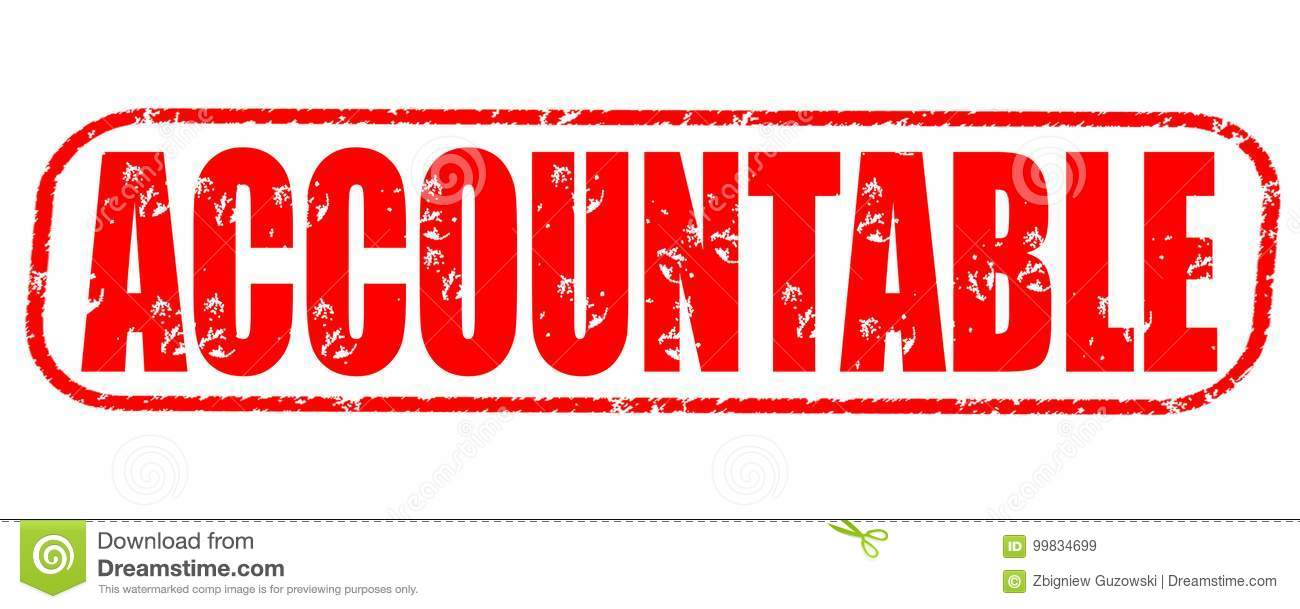Accountable stamp on white background