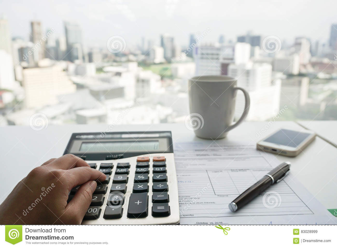 Accountant With Calculator For Tax And Salary Stock Image - Image of
