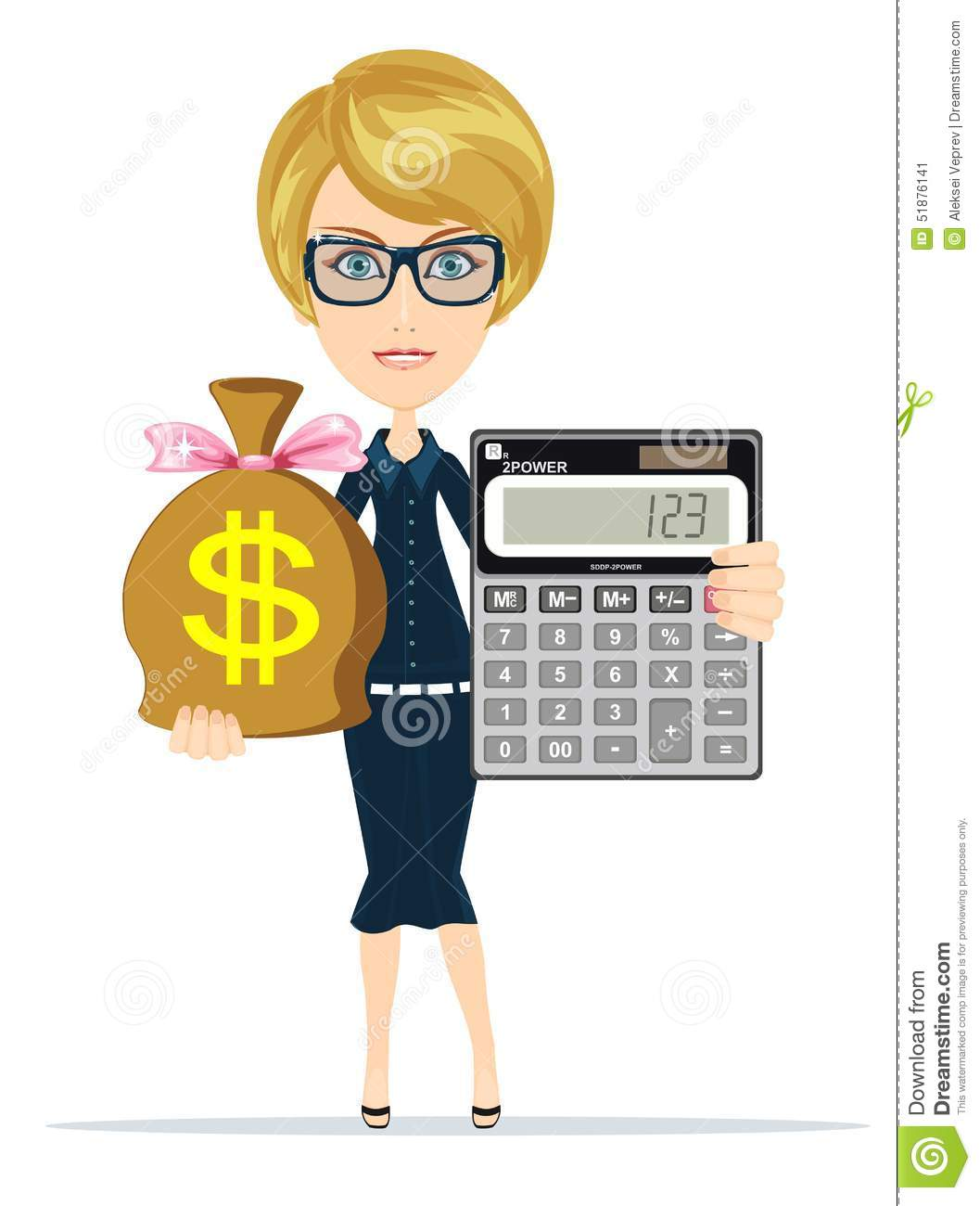 Accountant With A Calculator, Vector Illustration Stock Vector - Image ... Female Accountant Clipart
