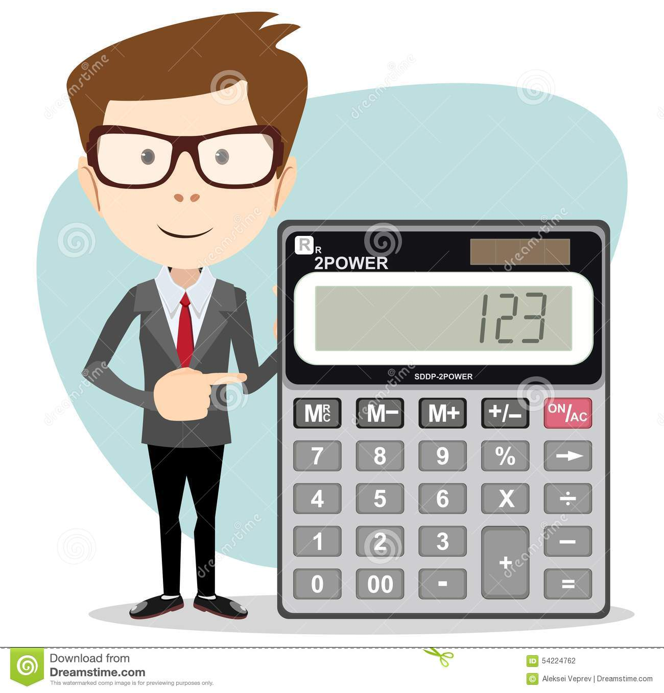 Accountant With A Calculator Vector Illustration Stock