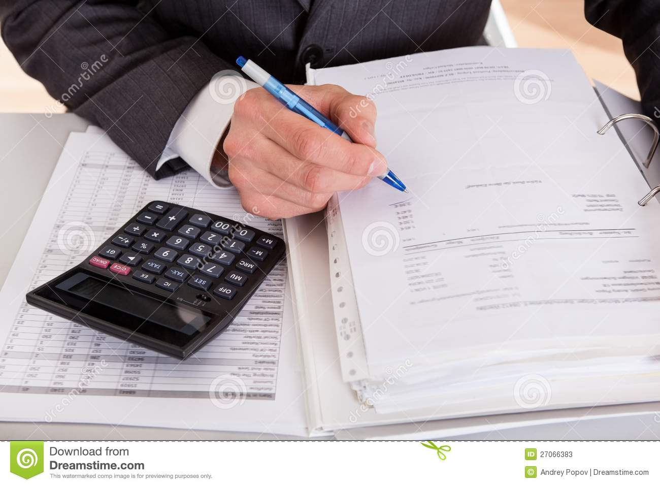 accountant working at the office stock photos