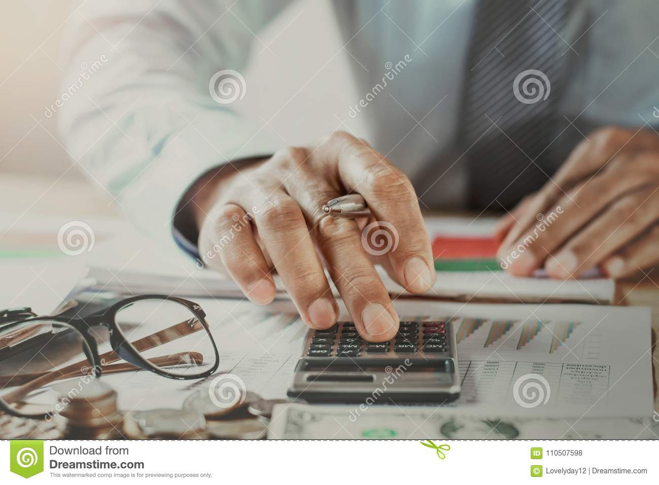 accountant working in office. business finance and accounting co