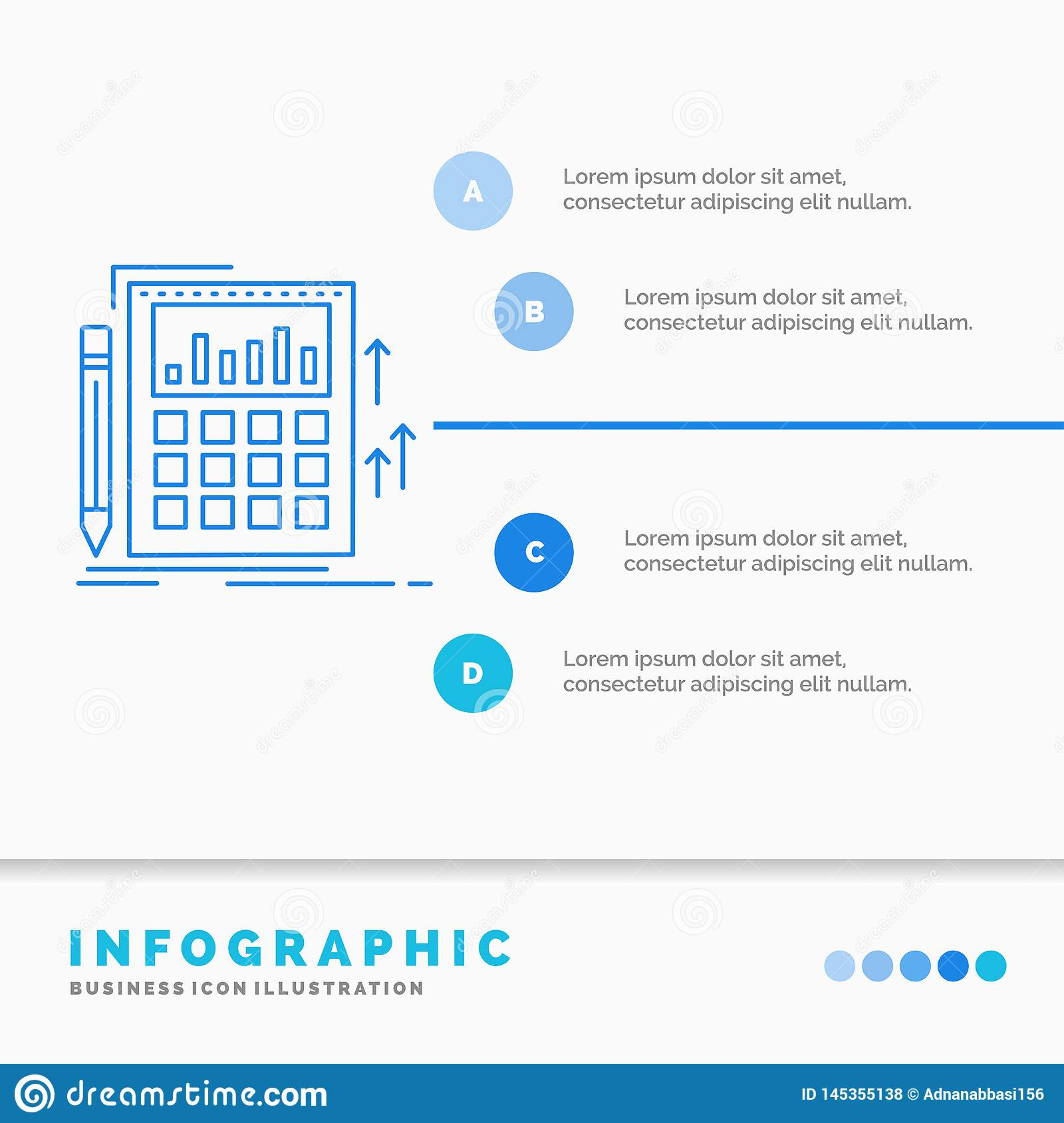 Accounting, audit, banking, calculation, calculator Infographics Template for Website and Presentation. Line Blue icon infographic. Style vector illustration royalty free stock photos
