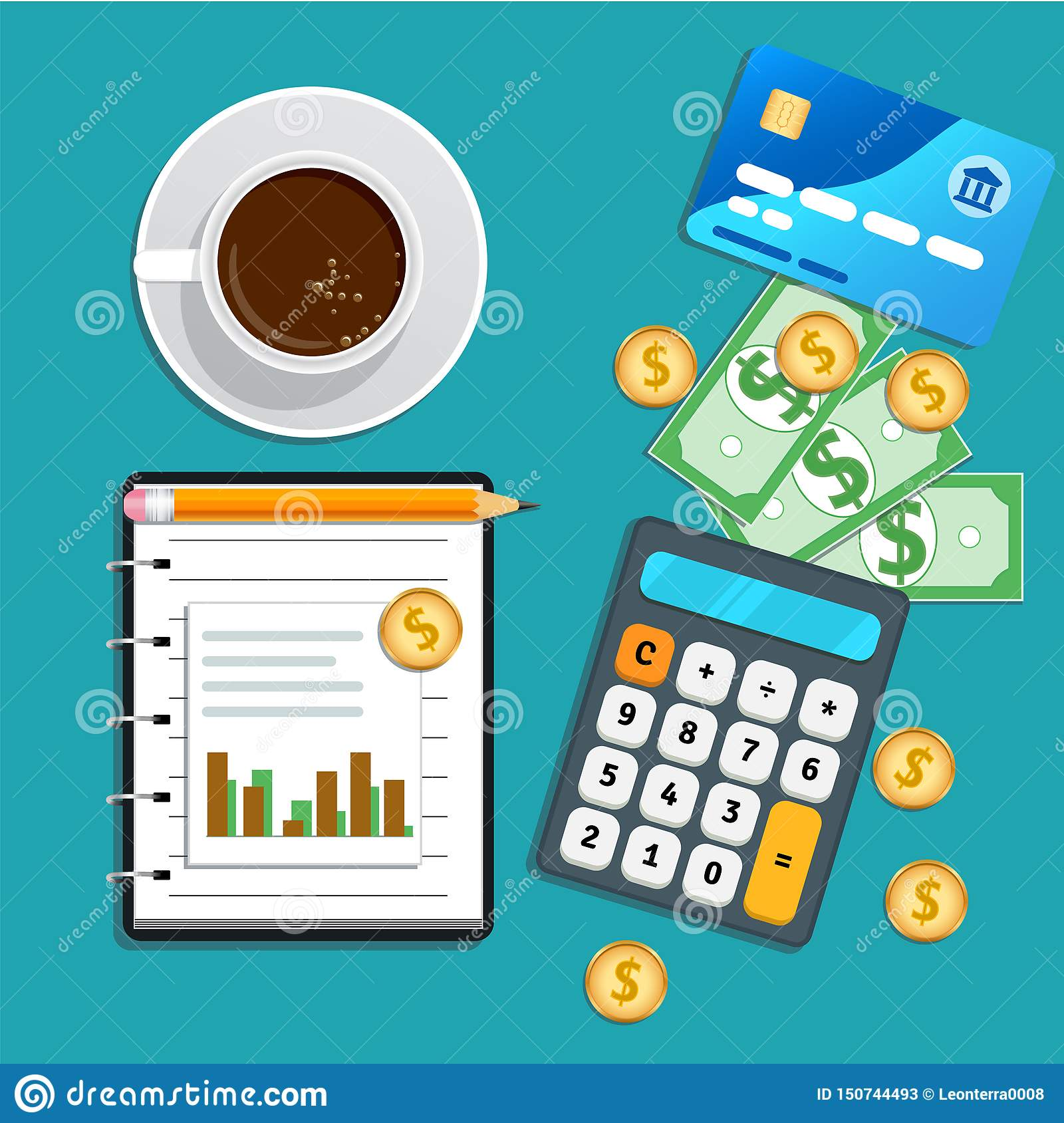 Accounting, Bookkeeping Concept. Financial Audit, Risk