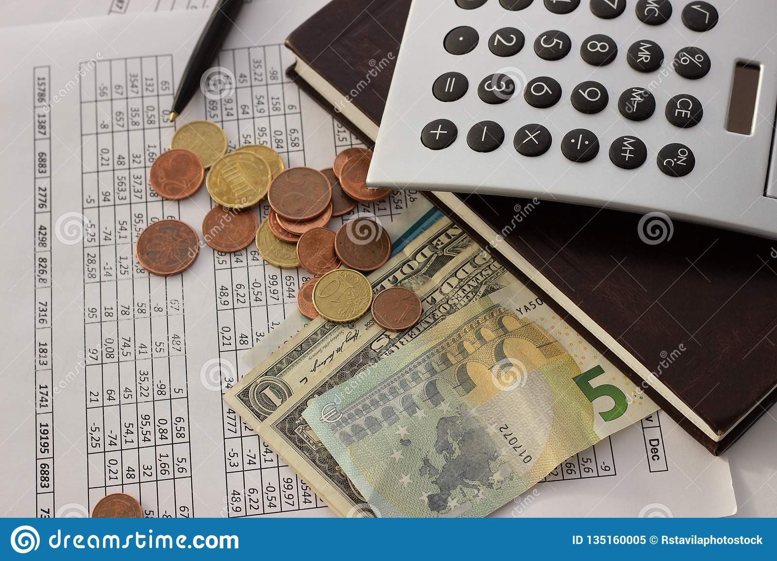 Accounting, business calculations, calculator, counting of funds