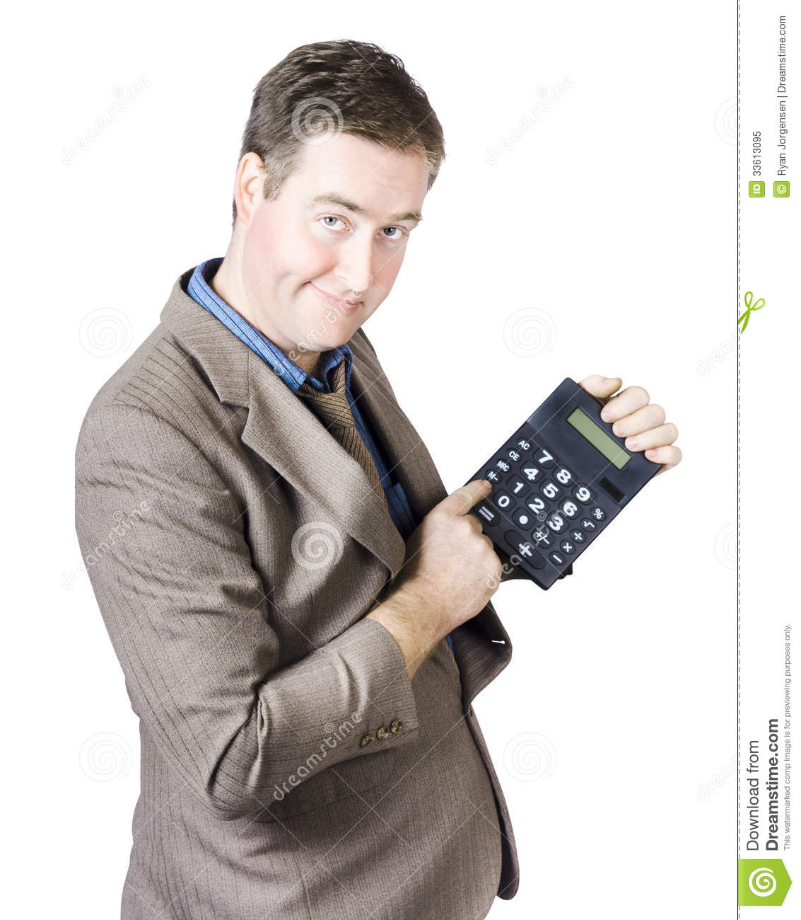 Accounting Business Man Holding Calculator Stock Image