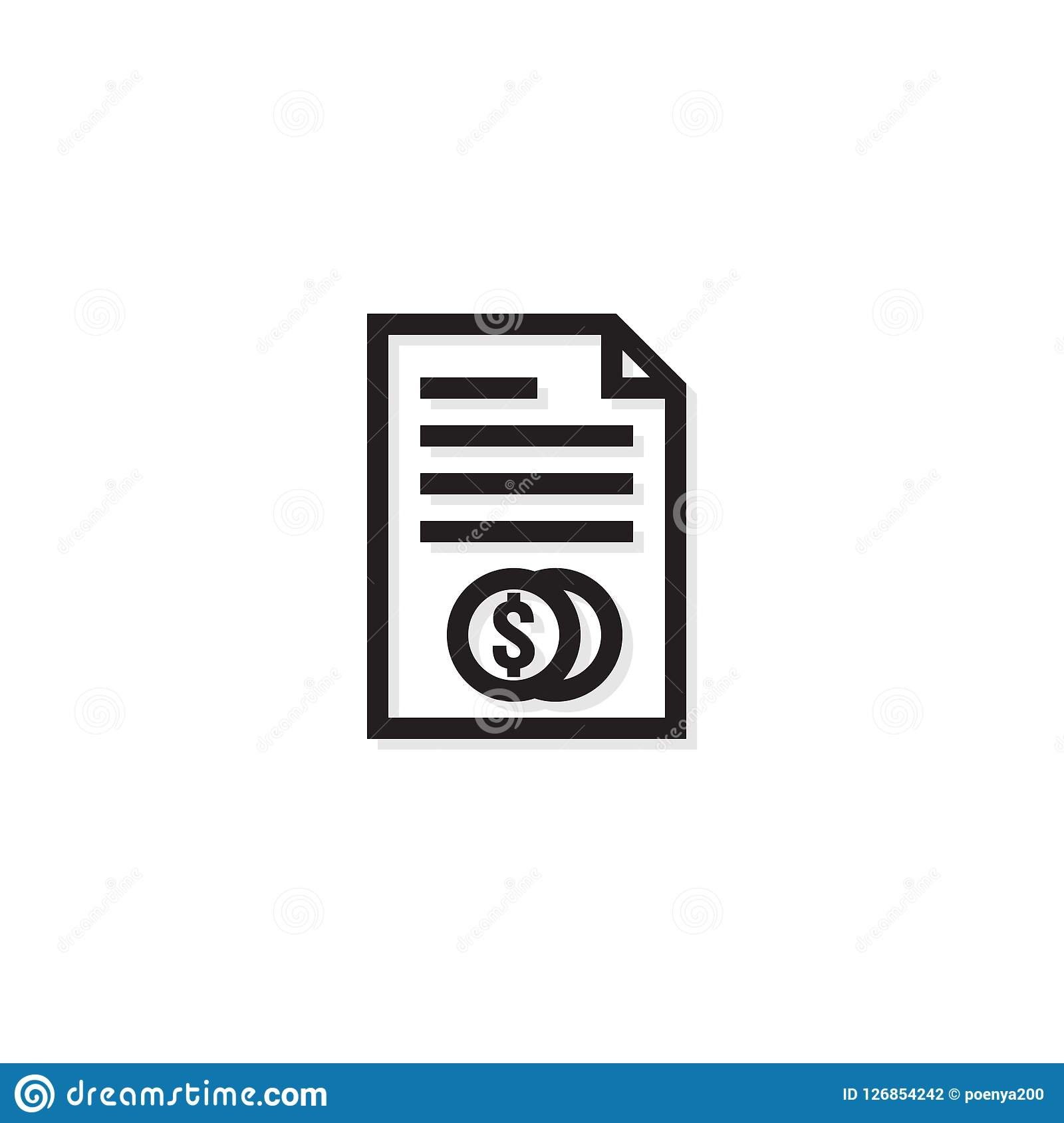 Accounting business management line Icon. Payment money dollar bill Invoice symbol. budget cost finance report document with chart