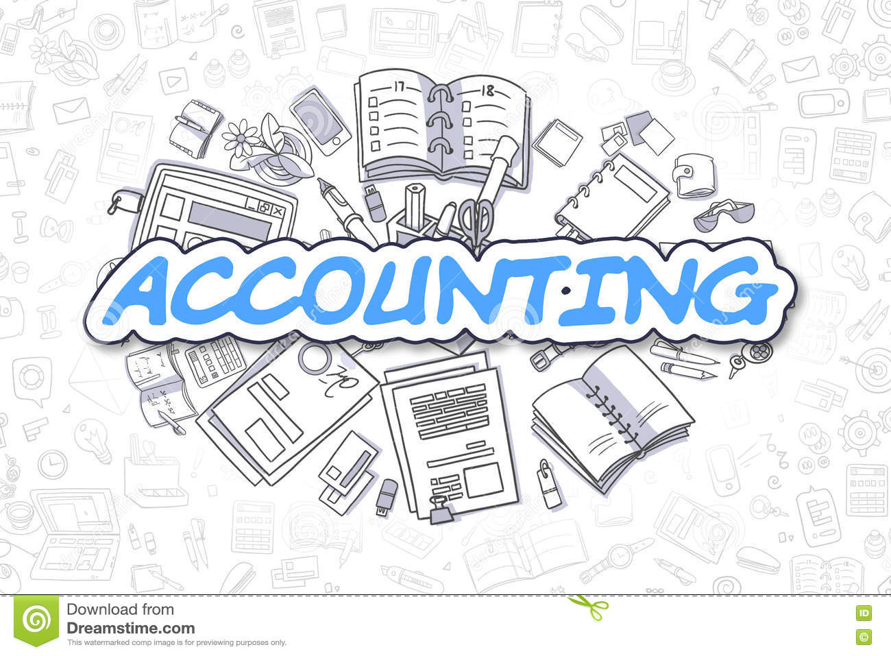 Accounting - Cartoon Blue Word. Business Concept. Stock ...