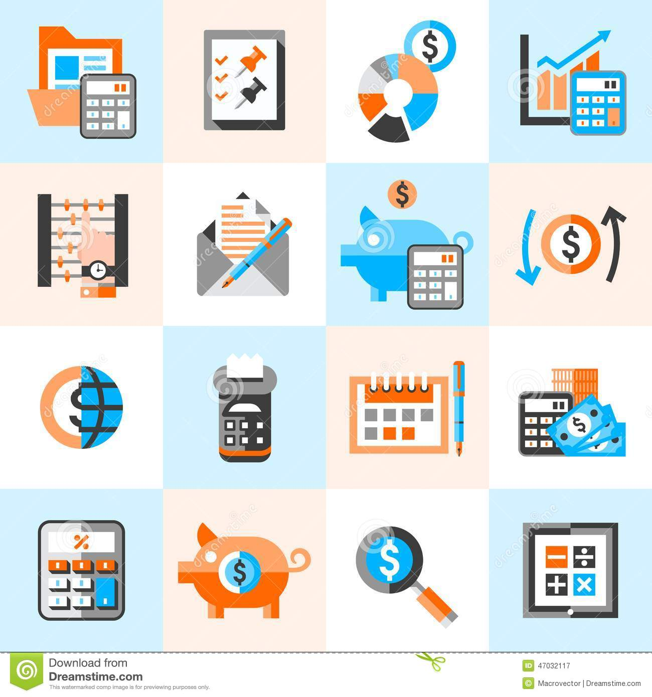 Accounting Icons Set Stock Vector Image
