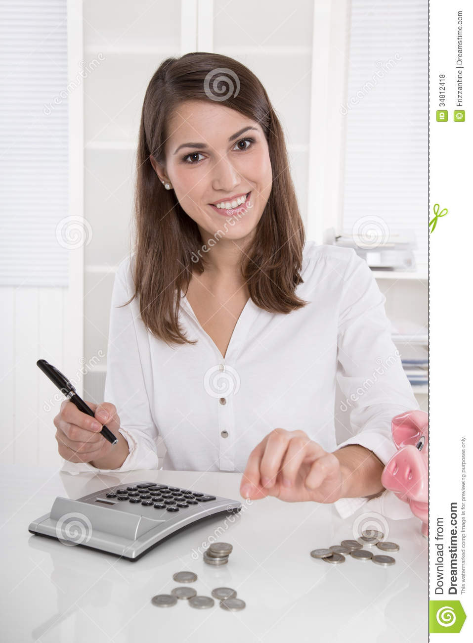 Accounting Pretty Businesswoman In White Sitting At Desk