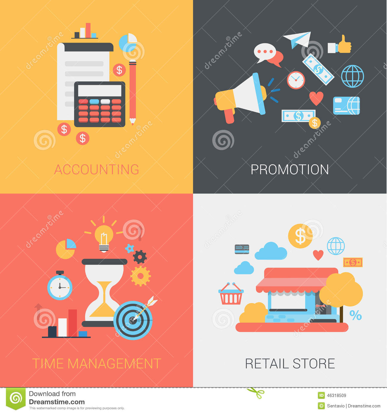 Accounting Promotion Time Management Store Flat Web